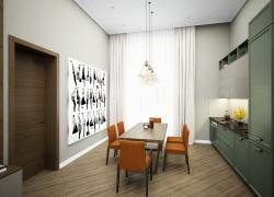 Просторная кухня-гостиная в коттедже