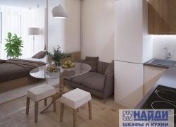 Зона кухни и спальни разделена межкомнатной перегородкой